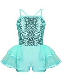 iiniim Enfant Fille Robe de Princesse Courte Robe de Danse Classique Tutu  Ballet Paillettes Justaucorps de Danse Gymnastique Collant… 9aec4ad5afe