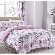 watercolour-style Floral flores rosa gris mezcla de algodón doble funda nórdica