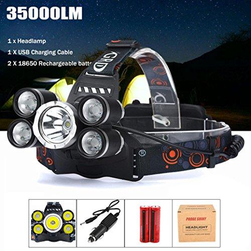 LED Headlight, Topten 35.000lumens Ultra brillante LED linterna frontal cabeza luz con batería recargable para Camping Caza Senderismo y actividades al aire libre