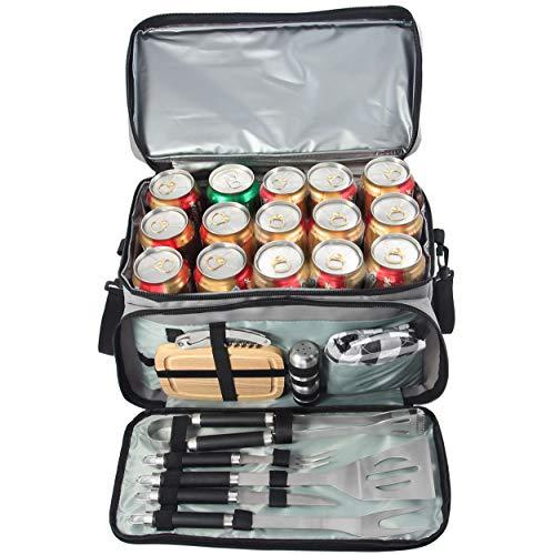 grilljoy Grillbesteck mit 15 Dosen Grauer isolierter Kühltasche - All-in-One BBQ-Picknick-Kühltasche - 12-TLG. Edelstahl-Campinggrill-Set für Grillen im Freien - Prefect Geschenke für Männer