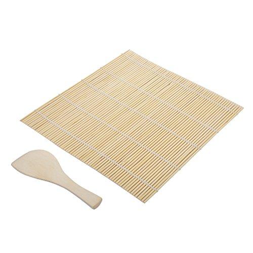Diossad bamboo sushi mat roll roller mat con cucchiaio di legno per fare kit di riso di riso diy giapponese pasto