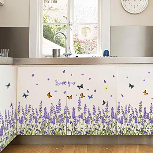3D lila lavendel Wandaufkleber wohnkultur wohnzimmer Küche schlafzimmer fenster aufkleber diy blumen selbstklebende film Poster