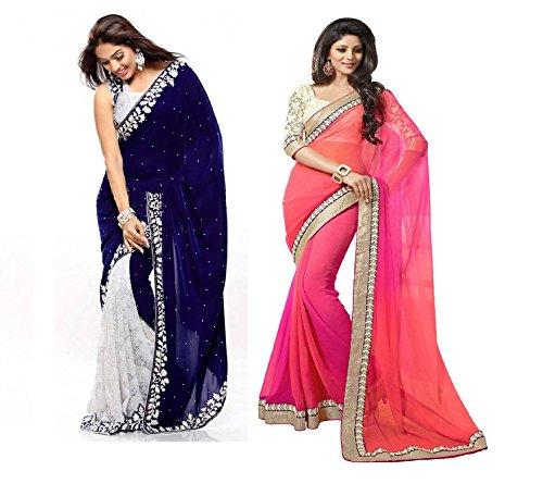 Fashion Dream Velvet & Net Saree (Velvet Blue + 2D_Blue|Orange)