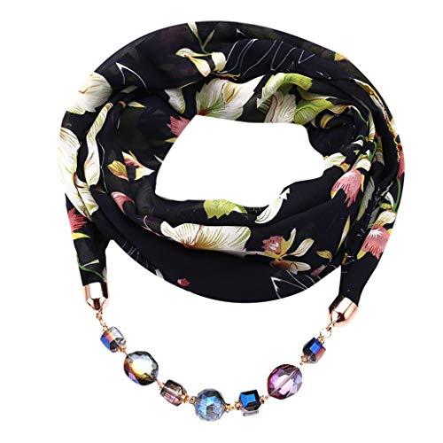 (Oliviavan Damen Halskette Modeschmuck Anhänger Schals & Tücher Jahrgang böhmischen Stil einfarbig mit Schnalle Kette Quasten Schal Halskette und Leinen mit Lätzchen 180x48cm)