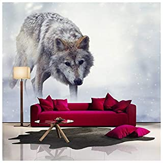 azutura Grey Wolf Wall Mural Winter White Photo Wallpaper Living Room Bedroom Home Decor available in 8 Sizes Gigantic Digital
