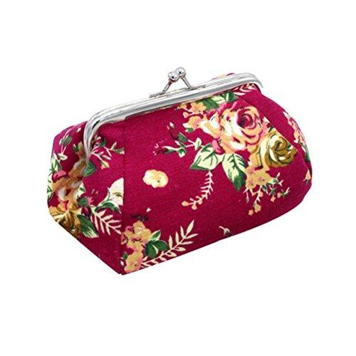 Amlaiworld Frauen Lady Retro Vintage Flower kleine Brieftasche Hasp Handtasche Clutch Bag (Hot Pink)
