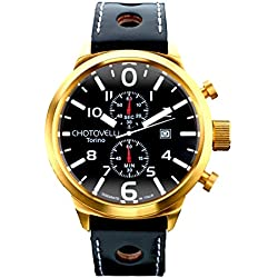 Chotovelli Big Pilot Men's Watch Black Dial Analogue Chronograph Display Black leather Strap 7900.6
