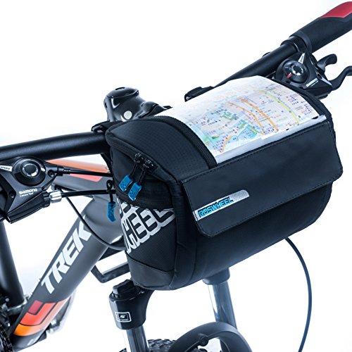 ROSWHEEL Mountainbike Lenkertasche vorne Rahmen Etui vorne Rohrkorb mit Klarsichttasche Wasserdicht 5 in 1 Schwarz