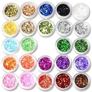 24Box Nail Art Decoration Glitter Dust Powder
