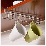 Multifunktions-Hakenleiste, zweireihiger Küchenhalter mit 12 Haken, für Tassen und Geschirrtücher, Befestigung an Regal oder Schrank, aus Edelstahl 2#