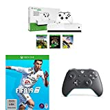 Microsoft Xbox One S 1TB - All Digital Edition [Konsole ohne optisches Laufwerk] + FIFA 19 - Standard Edition + Xbox Wireless Controller, grau-blau