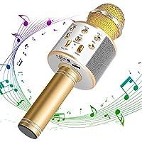 DAMIGRAM Bluetooth Karaoke Micrófono, Portátil Inalámbrica Micrófono y Altavoz del Karaoke de Bluetooth de 4