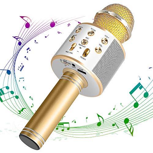 DAMIGRAM Bluetooth Karaoke Mikrofon, Drahtlose Handmikrofon Mikrofon mit Lautsprecher 4 in 1 Kabellos Mikrofon für Musik spielen KTV,Party, Android/IOS Smartphone (Gold)