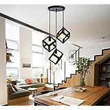 JINER-G9 * 3 220V LLEVÓ el estilo nórdico hierro forjado araña creativa arte minimalista único restaurante luz barra lámpara (sola cabeza) , square single head