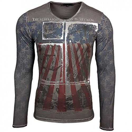 Rusty Neal Longshirt Printed Motiv Druck Amerika USA Langarm Shirt T-Shirt Longsleeve 10132 Anthrazit