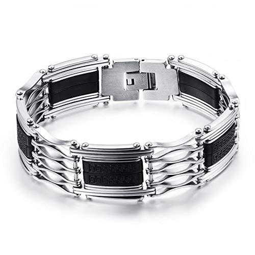 DEQIAODE Einfaches Retro silikon Titanium Stahl Armband Herren Armband