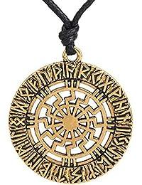 Nordic Runes amuleto Sun Pendant Necklace Pagan Wheel amuleto gioielli Gift