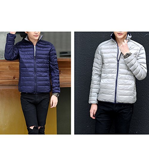 Laixing Manteaux Mens Winter Short Down Jacket Warm Outwear Jacket Double-sided Wear Ultra Lightweight Dark Blue & Silver