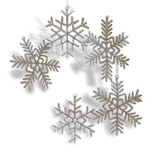Loberon Weihnachtsschmuck 5er Set Snowflake, Eisen/Glas, H/B ca. 18/18 cm, Silber