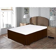 """Comodidad beddings 1pieza cubre canapé 12""""drop Longitud de 600hilos UK King Size 100% algodón egipcio sólido, marrón, UK King"""