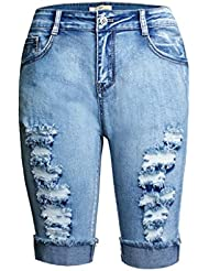 Shorts Pour Femmes En Sertir Les Sept Points Pantalons En Taille Haute Stretch Denim Leisure Jeans Party Clubwear Pantalon De Poche