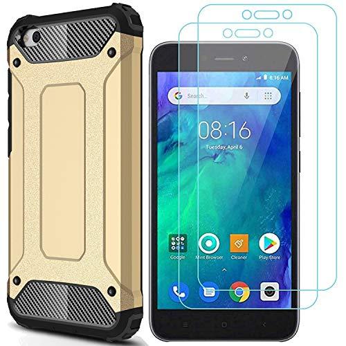 AOYIY Funda para teléfono móvil Xiaomi Redmi Go y 2 Protectores de Pantalla para la Caja del teléfono móvil y Protector de Pantalla para el teléfono Inteligente Xiaomi Redmi Go[Oro]