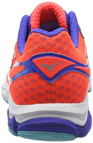 Mizuno Wave Catalyst - Chaussures de Running Compétition - Femme Rose (Fiery Coral/Capri/ Dazzling Blue)