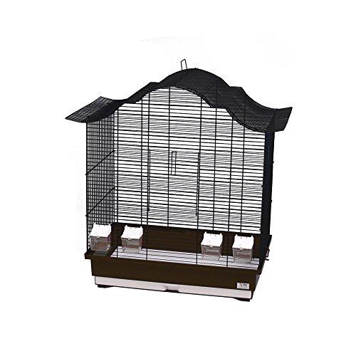 WD IMPEX CTC-Trade| Vogelkäfige XXL Braun Außenmaße 70x42x72,5 cm Urlaub Reisekäfig Zubehör Wellensittich Kanarienkäfig Futternapf Plastik Vogel Modell Asia 60