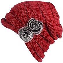 Gorra De Lana De Punto Beanie para Invierno Frio De Mujer con Pompon De  Pelo De 4f8c3d47bdd