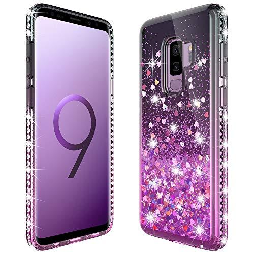 MASCHERI Cover per Samsung Galaxy S9 Plus, Sottile 3D Bling Diamante Glitter Brillantini Lucido Cuore Scintillante Carino Creativo Cristallo Silicone Custodia - Nero&Rosa