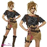 Smiffys Déguisement Femme, Chasseuse Zombie, avec robe, gilet imprimé, haut, poignard et étui, Taille 36-38, Couleur: Brun, 46848