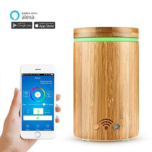 WiFi Smart Diffuseur d'Huiles Essentielles Google Home et APP Contrôle, AOZBZ Bambou Naturel 4 en 1 Ultrasonique Diffuseur Aromatherapie, Brume Humidificateur, Purificateur d'air RGB Coloré LED 160ML