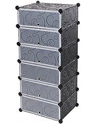 Songmics Armoire etagère à porte chaussures 6 couches facile à monter-étagère de rangement pratique spéciale LPC06H