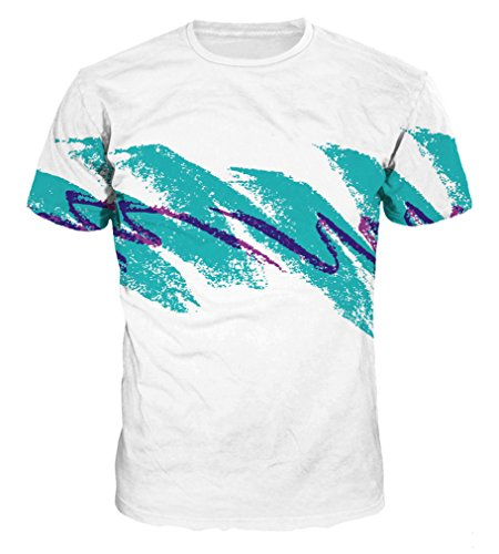 Pretty321 Men Women Figures & Creative 3D Print Hip Hop Slim T-shirt Collection Water Waves Painting on White