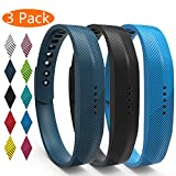 KingAcc Fitbit Flex 2 Strap, Soft Accessory Replacement Bands Straps for Fitbit Flex 2, With Metal Buckle Sport Fitness Wristband Band Bracelet Women Men (3-Pack, SeriesA, Small)