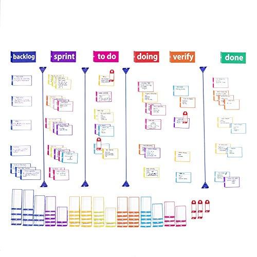 Scrum board set para agile, kanban y scrum - tarjetas magnéticas