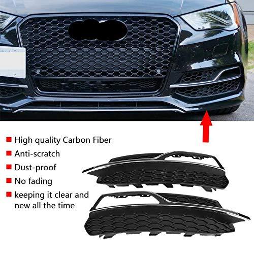 Para el parachoques delantero estilo S3 Faros antiniebla Rejillas Negro brillante para Audi A3 S-Line 8V Pre-lifting 2013 2014 2015 2016,Bright