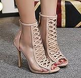Aisun Damen Modern Peep Toe Cut Out Transparent Stiletto High Heel Sommerstiefel Sandale Mit Reißverschluss Aprikosenfarben 37 EU - 3