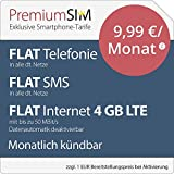 PremiumSIM LTE M Allnet Flat [SIM, Micro-SIM und Nano-SIM] monatlich kündbar (FLAT Internet 4 GB LTE mit max. 50 MBit/s mit deaktivierbarer Datenautomatik, FLAT Telefonie, FLAT SMS und FLAT EU-Ausland, 9,99 Euro/Monat)