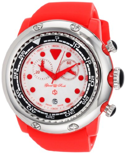 Glam Rock Miami Beach GR20129 50mm Plastic Case Red Silicone Mineral Men's Watch