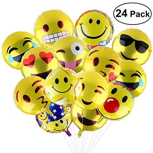 emoji luftballon BESTOMZ Party Luftballons Gesichtsausdruck Balloons für Party Zur Dekoration, 45cm (24 Stück)
