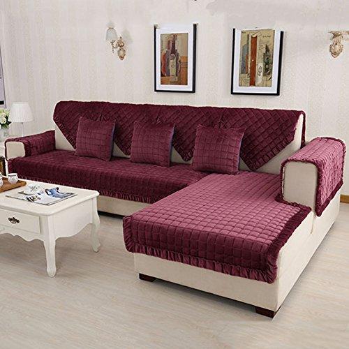 GLJY Sofabezug, Flanell Gesteppt Schonbezug, Anti-Rutsch-Stain Resistant Schnitt Couch Abdeckung Möbel Protector, Multi-Size,90*160Cm (2 Stück Wohnzimmer Chaise)