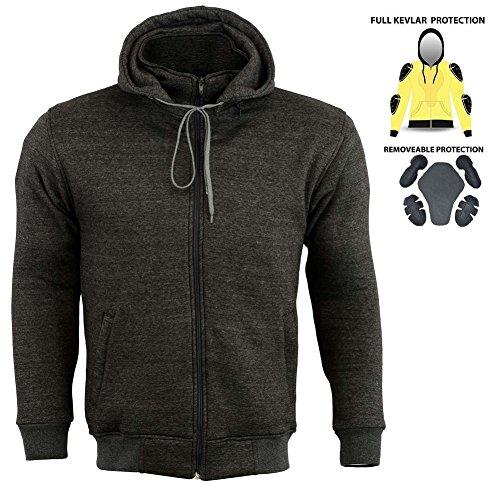 Sweat à capuche Kevlar pour moto avec protections certifiées CE et doublure en polaire