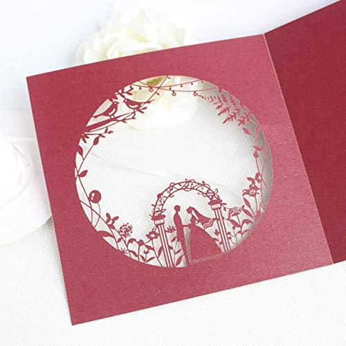 MegOK Burgundy Romantic Invitation Laser Bride Groom Invite Jacket Fall Wedding Card provided Customized Printing,Burgundy,Customized Printing Karte Blue Jackets