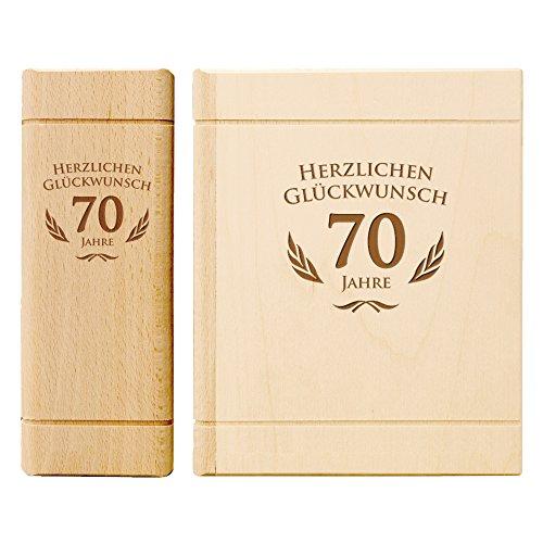 Spardose Buch aus Holz zum 70. Geburtstag mit Gravur - Sparbuch als originelles Geburtstagsgeschenk für Geld - Geldgeschenk-Sparbüchse aus Ahornholz - 13,5 x 16,5 x 6,5 cm