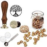 Mogoko Sigillo + Ceralacca in forma di Stella + Cera + Cera Stick Spoon Francobolli Vintage Kit per Lettera Personalizzata Timbri Personali REGALO SET - Oro
