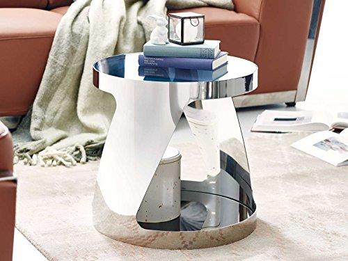 Esche Wohnzimmer Tisch (Beistelltisch Chrom Couchtisch Farbe silber Schwarzglas Kairo Chrome rund)