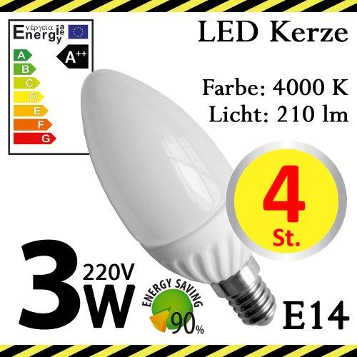 4-er Pack ALMIPEX E14 LED Lampe Kerze 3W (210lm - 4500 K - Weiß - 6 x SMD - 270º Abstrahlwinkel - E14 Sockel - 230V AC - 3 Watt - Ø 37×106 mm)