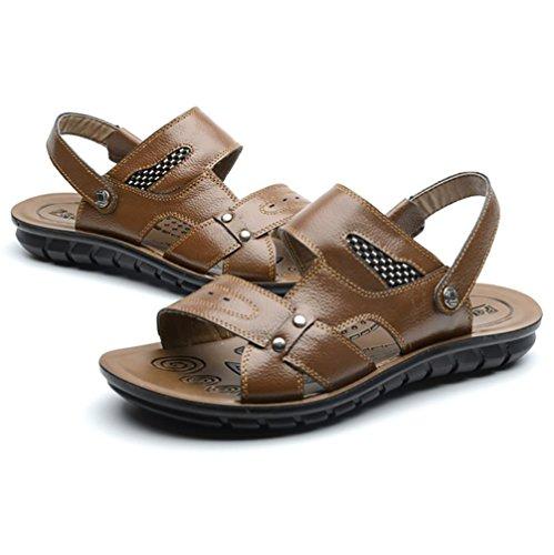 SHANGXIAN Herren Schuhe New Style heißer Verkauf Outdoor Casual Komfort Leder Strandsandalen Braun Schwarz Orange Brown