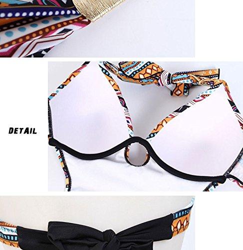 ELEOPTION Sexy Mode Badeanzug Neckholder Big Size Cups Bikini Monokini für Damen Mädchen Gelb 6805